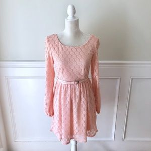 Dresses & Skirts - JODI KRISTOPHER Dress Pink Lace Long Sleeve NWT